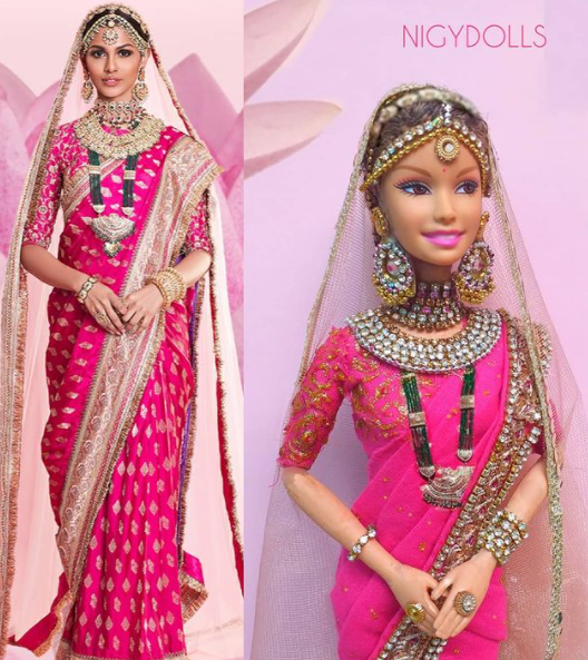 Castelino had worn a handwoven pink silk saree by designer Shravan Kummar. She wore the saree with heavy jewellery from Curio Cottage.