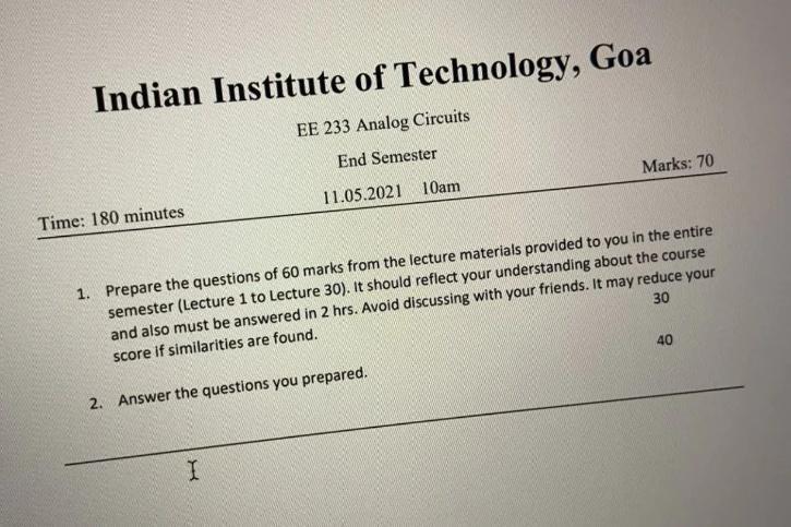 IIT-Goa question paper