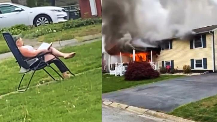 Woman sets her house on fire and then sits in lawn to watch it burn
