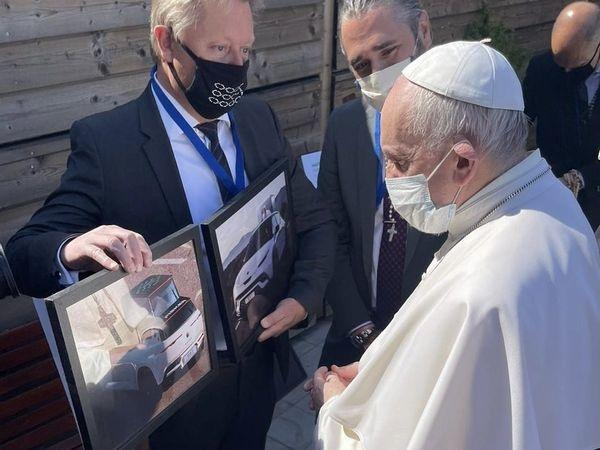 The co-founders of the company, Henrik Fisker, and Dr. Geeta Gupta-Fisker, met the head of the Roman Catholic Church in Vatican city recently.