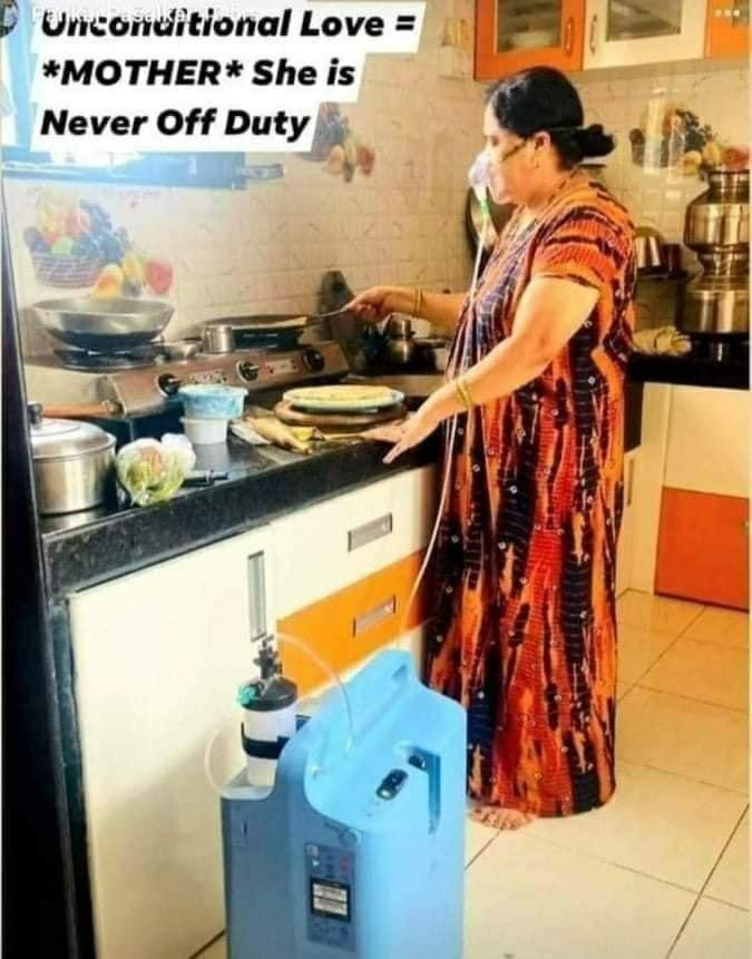 woman oxygen support cooking