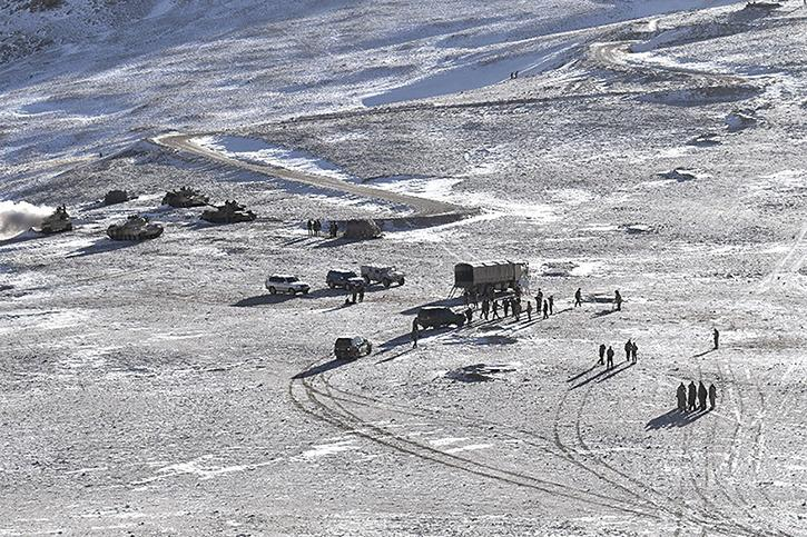 People Liberation Army (PLA) soldiers and tanks during military disengagement along the Line of Actual Control (LAC) at the India-China border in Ladakh.