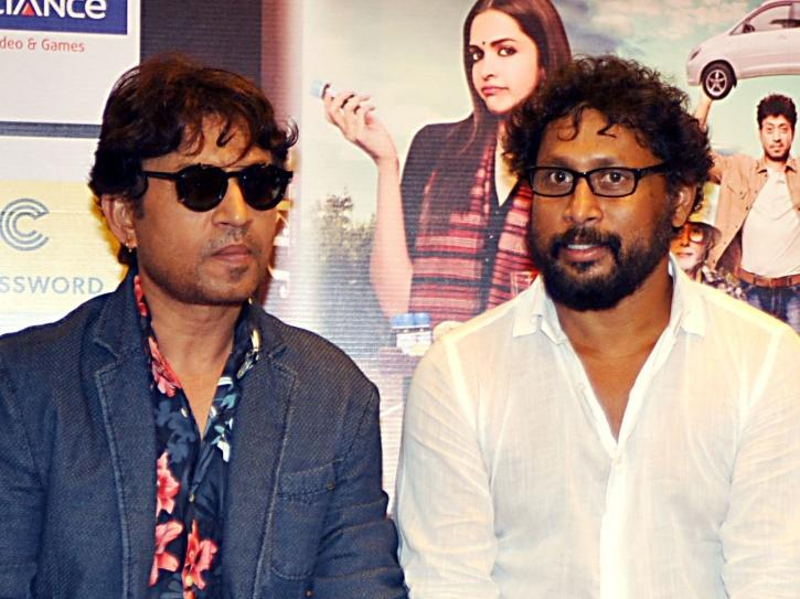 Shoojit Sircar with Irrfan Khan during the promotions of Piku.