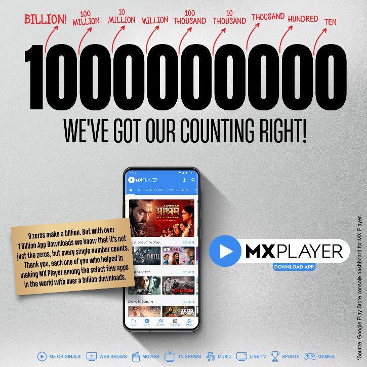 MX Player 1 billion downloads