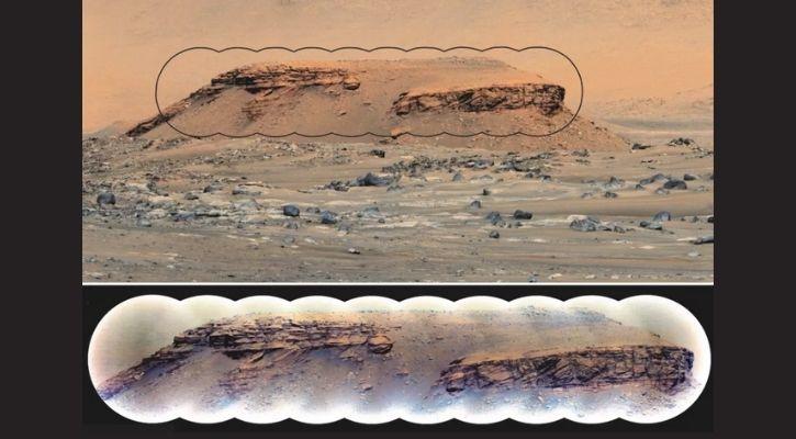 Sedimentary rock layers in the hill Kodiak, inside Mars