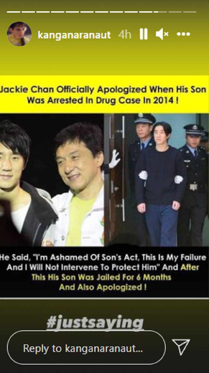 Kangana Ranaut shared a post that stated that Jackie Chan had apologised after his son was arrested in a drug offense case.