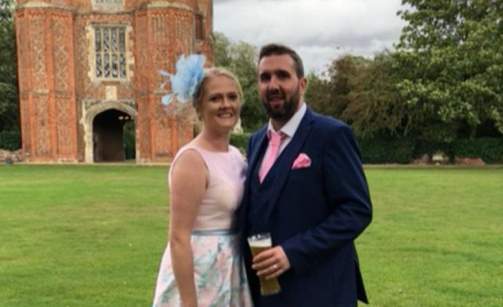 Cara Donovan with her husband