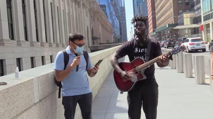ny street artist asked random people to sing with him and an indian dude took the mic