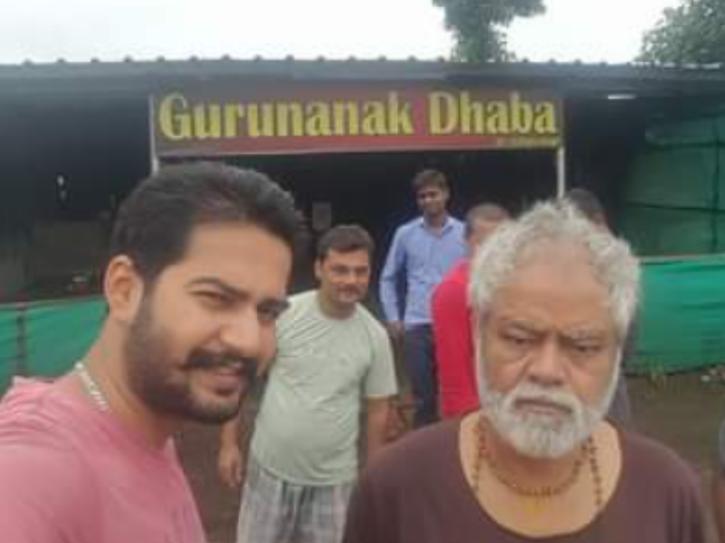 Sanjay Mishra at a dhaba in Rishikesh.