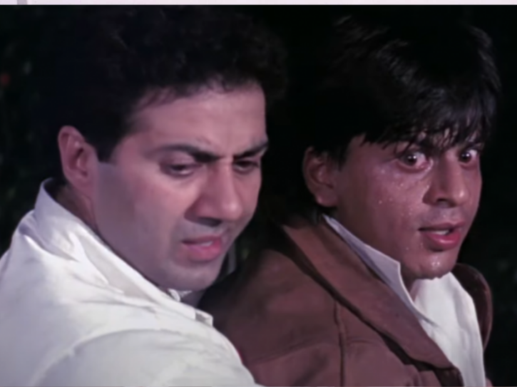 Sunny Deol, Shah Rukh Khan and Juhi Chawla in Darr
