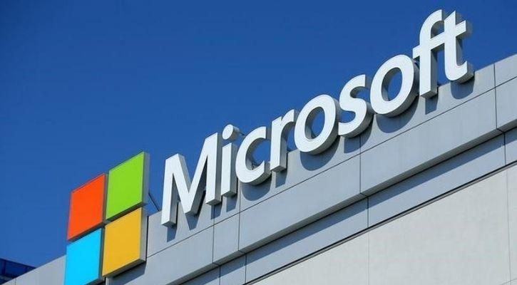 The logo of Microsoft is pictured here