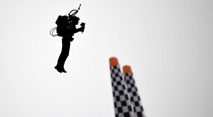 A man in a jetpack can be seen here