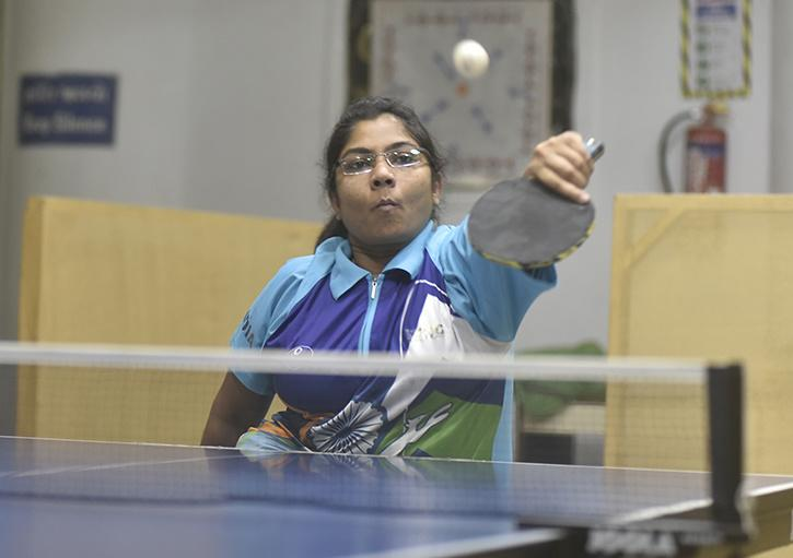 Table Tennis player Bhavina Patel practice at Blind people association in ahmedabad