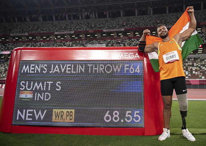 Sumit Antil a Indian Javelin Thrower sets a World Record of 68.55 meters and wins the gold medal at Tokyo Paralympic 2020