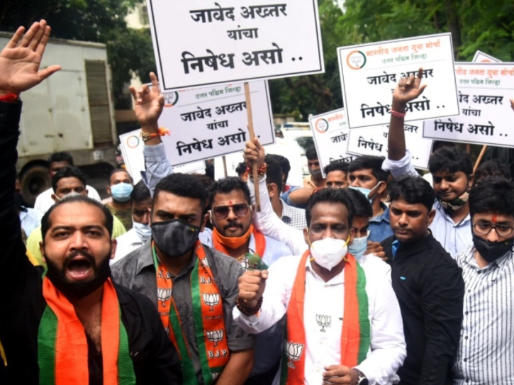 BJP protests outside Javed Akhtar