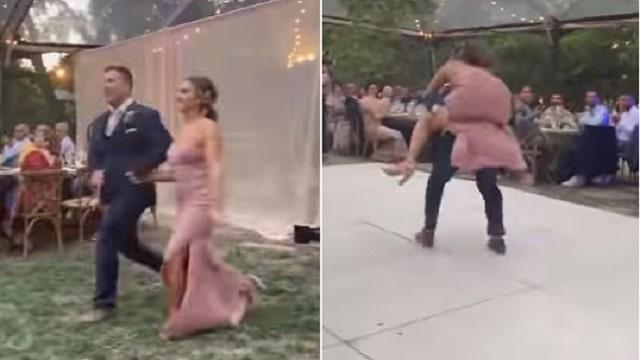 Bride and Groom's grand entrance fails, fall off the stage