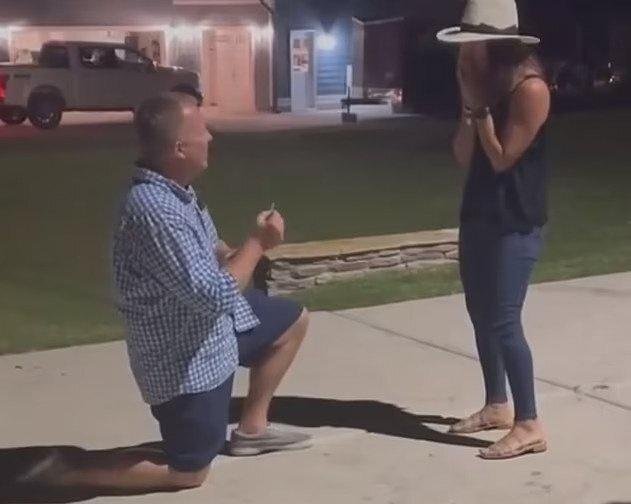 Sean Matthews got down on one knee and proposed to Kellie Stanley right outside their home