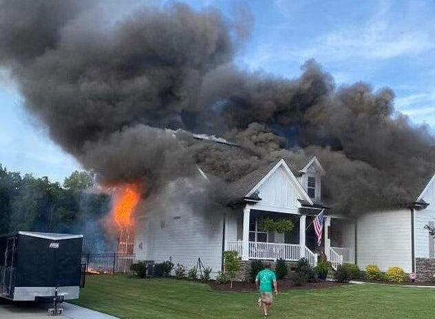 The house went up in flames