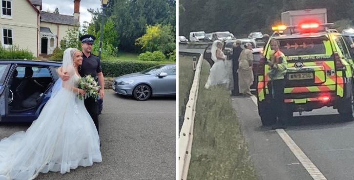 Bride Hitchhikes With Cop To Wedding After Vintage Car Breaks Down
