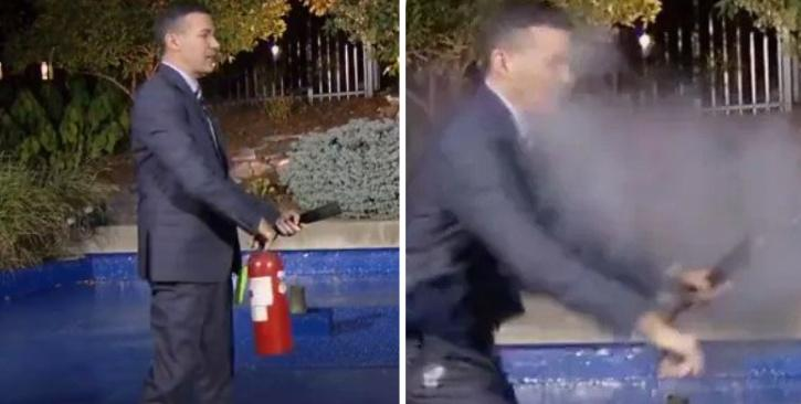 Fire extinguisher explodes in hands of weather presenter