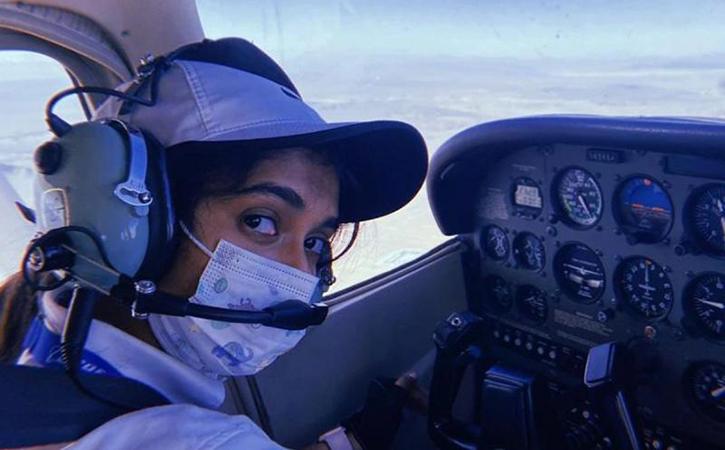 Maitri Patel flying airplane