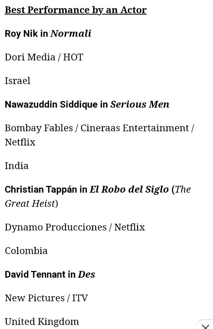 Nawazzuddin Siddiqui nominated at International Emmy Awards 2021.