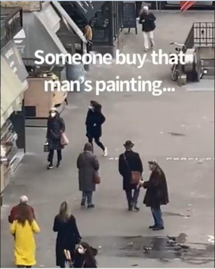 The Twitter user who was also recording the video, informs through this video that she saw this old man on the same street quite many times but previously she never saw him selling paintings.