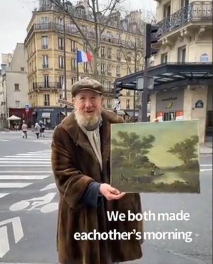 As she goes on to record the video, she hoped any kind person go and buy the painting from the old man. But time passes by and nobody buys the painting from the old man.