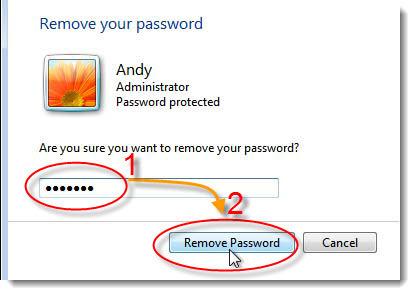 remove windows 7 password login
