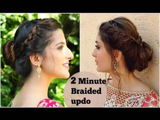 2 Minute Braided Bun Hairstyle For Navratri Durga Puja Kareena