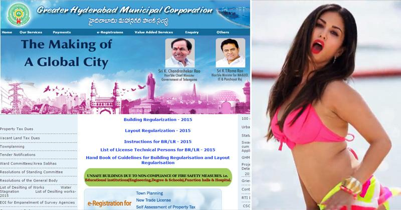 Hyderabad Really Loves Sunny Leone, Her Nude Photo Flashes On Municipal Corporations -9722