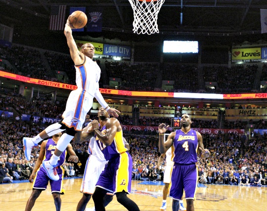 Thunder Rumble Over Lakers 114-108