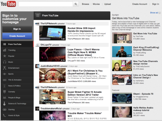 YouTube Home Page Gets 'Face Lift'