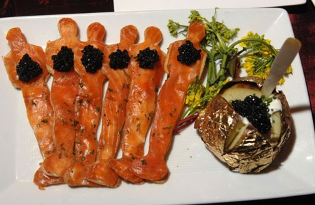 Oscar-shaped smoked salmon hors d'oeuvres, garnished with caviar.