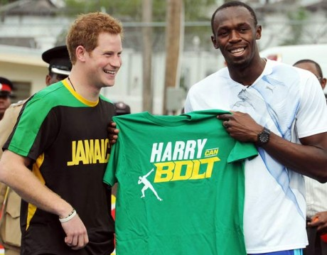 Prince Harry runs with Usain Bolt in Jamaica