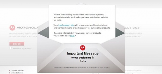 Google-owned Motorola Shuts Down India Website