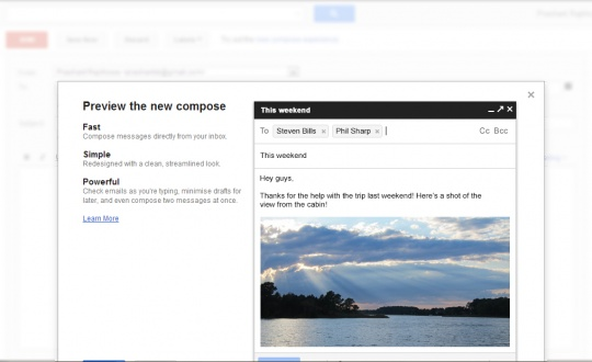 GMail New Compose - Like a Chat Window