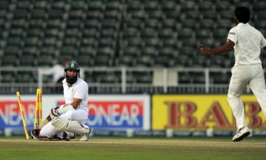 Hashim Amla was bowled for four by Mohammed Shami on Day Four. (Photo: AFP)