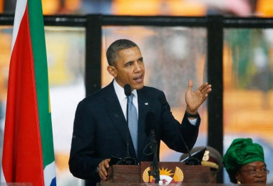 Barack Obama at Nelson Mandela's  Memorial Service