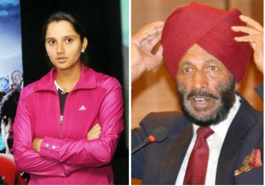 Sania Mirza (left) and Milkha Singh. (Photo: BCCL)