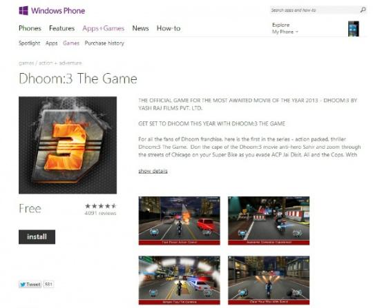 DHOOM 3 on Windows App Store