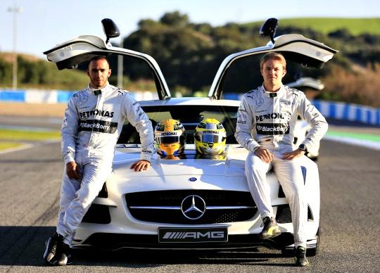 Hamilton Shows Off His New Mercedes