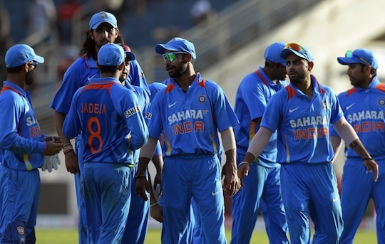 ndian cricketers leave the field after being defeated in the second match of the Tri-Nation series between Indian and West Indies at the Sabina Park stadium in Kingston on June 30, 2013. West Indies defeated India by 1 wicket.