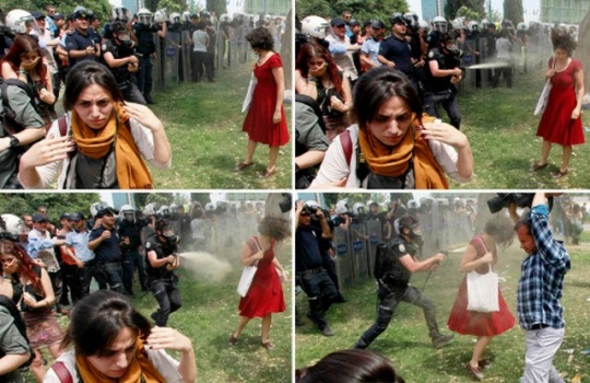 Woman in Red Becomes Turkey Symbol of Protests