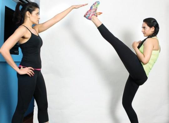 Sonakshi Sinha with her trainer, Yasmin Karachiwala