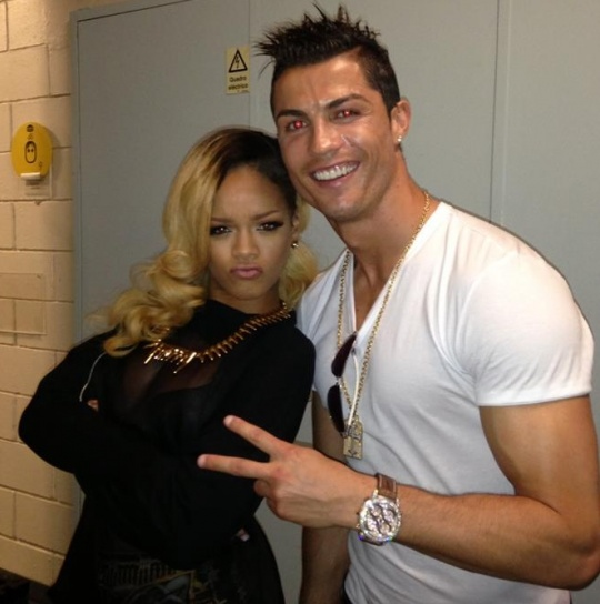 Ronaldo Poses With RiRi Backstage in Lisbon