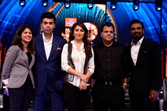 Myleeta Aga, the Senior Vice President and General Manager, BBC Worldwide, India and Content Head Asia, Karan Johar, Madhuri Dixit, Raj Nayak, CEO COLORS and Remo DSouza