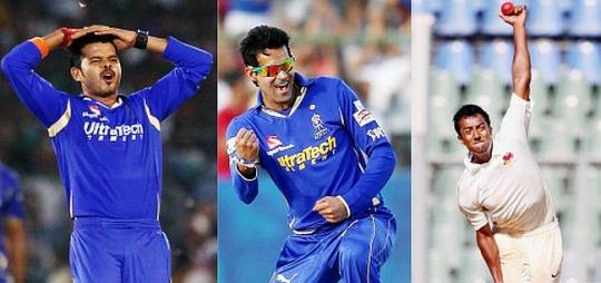 Rajasthan Royals paceman S Sreesanth and spinners Ankeet Chavan and Ajit Chandila