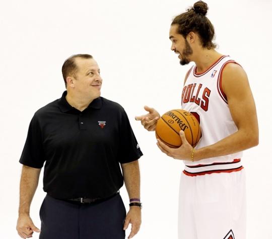 Chicago Bulls coach Tom Thibodeau and Joakim Noah