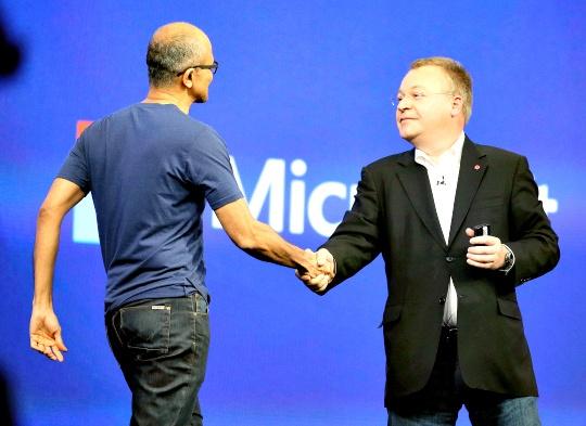 Microsoft CEO Satya Nadella, Nokia VP Stephen Elop
